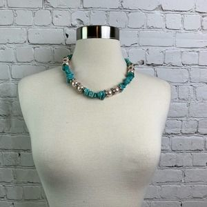 Faux Pearl and Turquoise Choker Necklace